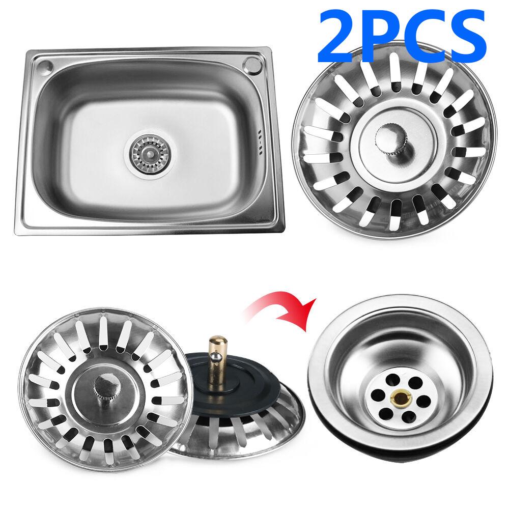 Seal Washers 2x Stainless Steel Kitchen Sink Strainer Waste Plug Drain Basket