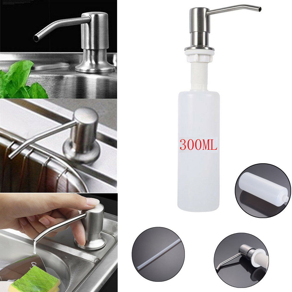 Details about Stainless Steel Soap Dispenser Kitchen Sink Soap Hand Liquid  Pump Bottle