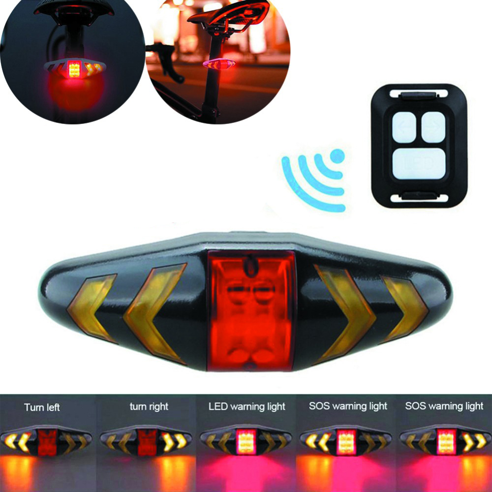 Bicycle LED Indicator Bike Rear Tail Laser Turn Signal Light Wireless Remote