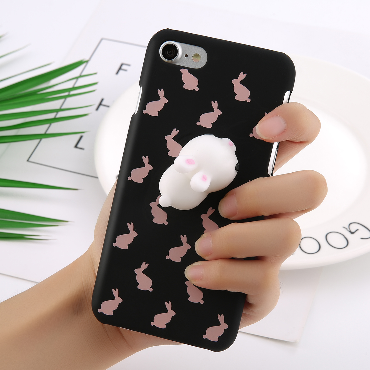 Squishy 3D Soft Silicone Rabbit + Hard PC Phone Case Cover For iPhone 6s 7 Plus eBay