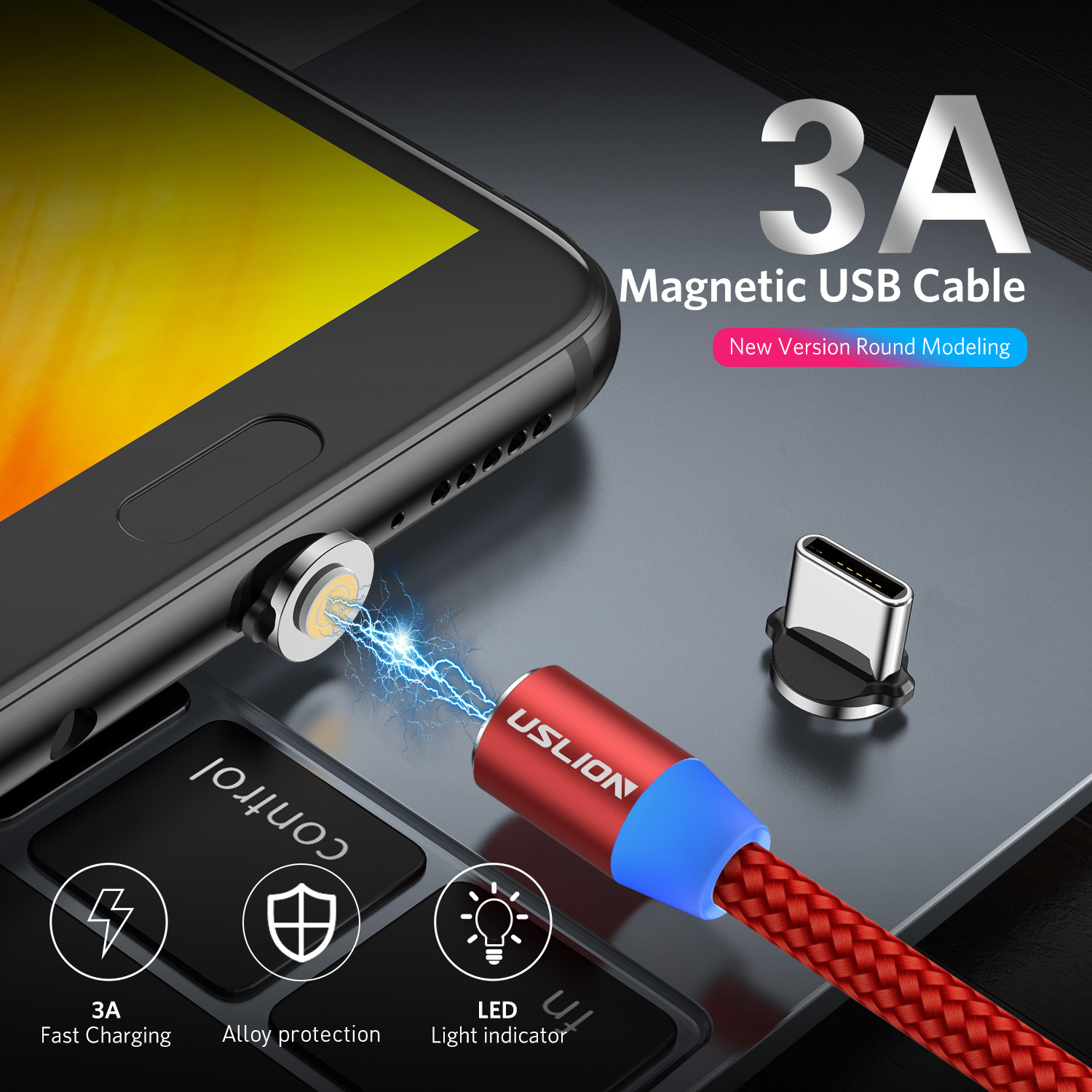 3A LED Magnetic Type C Fast Charging Sync Data Charger