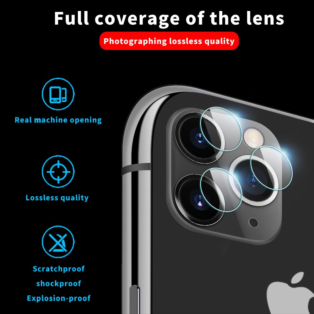 Tempered Glass Screen Film Camera Lens Protector For iPhone 11 Pro / 11 Pro  Max