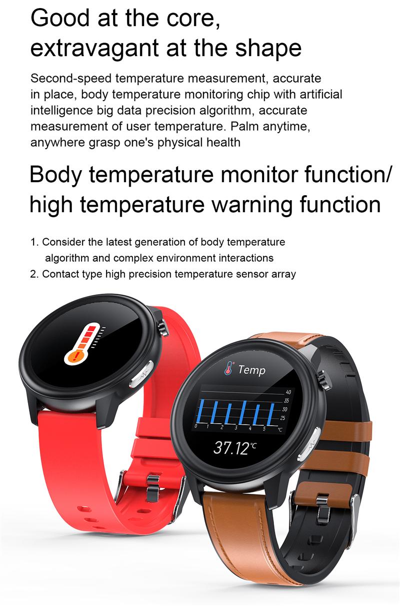 2020 Körpertemperatur Smart Watch Herzfrequenz Blutdruck..
