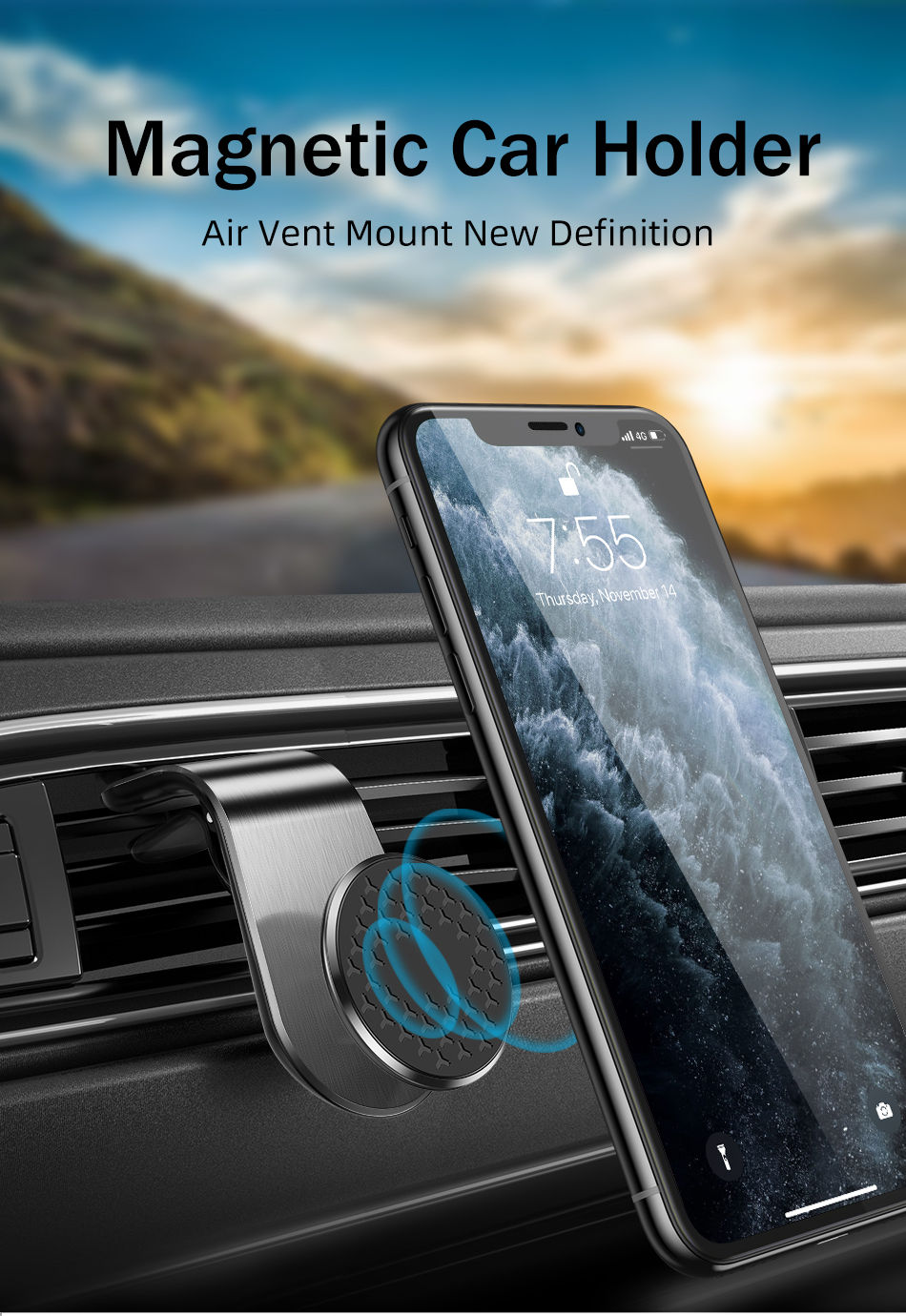 Silver Diamond Shape,Aluminum Alloy 360/° Rotation Air Vent Cell Phone Holder Car Cradle Mount Compatible for Cell Phones and Mini Tablets Magnetic Car Mount
