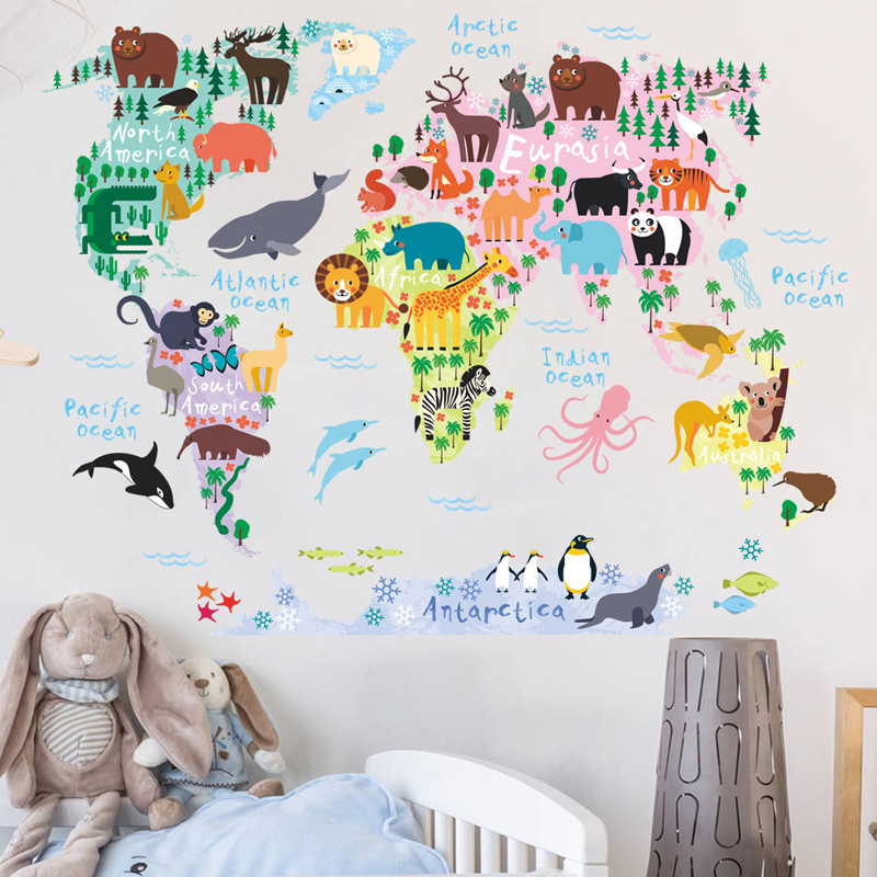 Details about Cartoon Animal World Map Wall Sticker Children\'s Bedroom  Living Room Wall Decal
