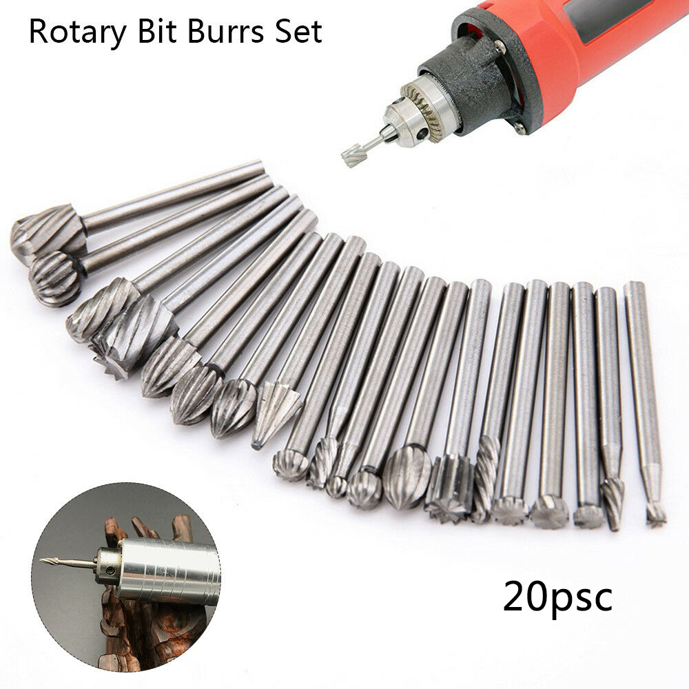 "Carbide 3mm 1//8/"" Shank HSS Grinding Burr Drill Bits Set For Rotary Tool Engravin"