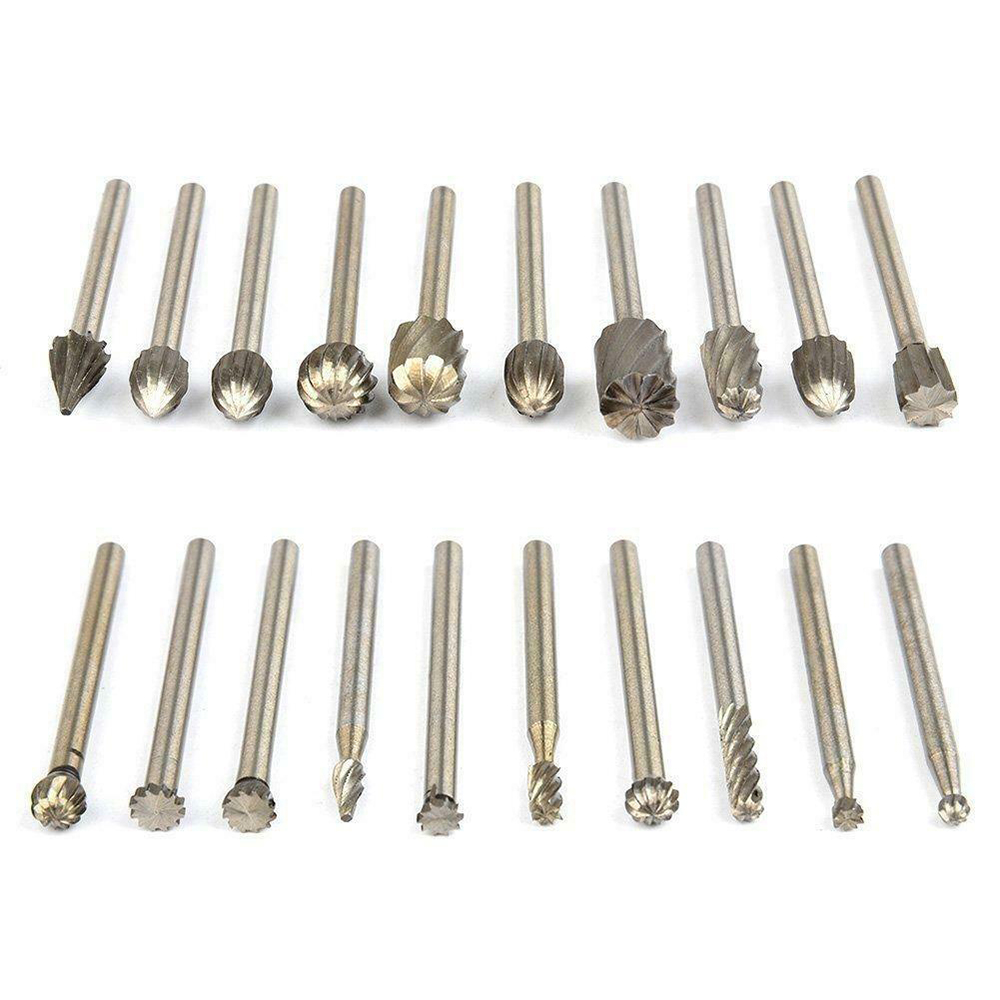 20pcs HSS Carbide Burr Rotary Drill Bit Die Grinder Carving Engraving Dremel`